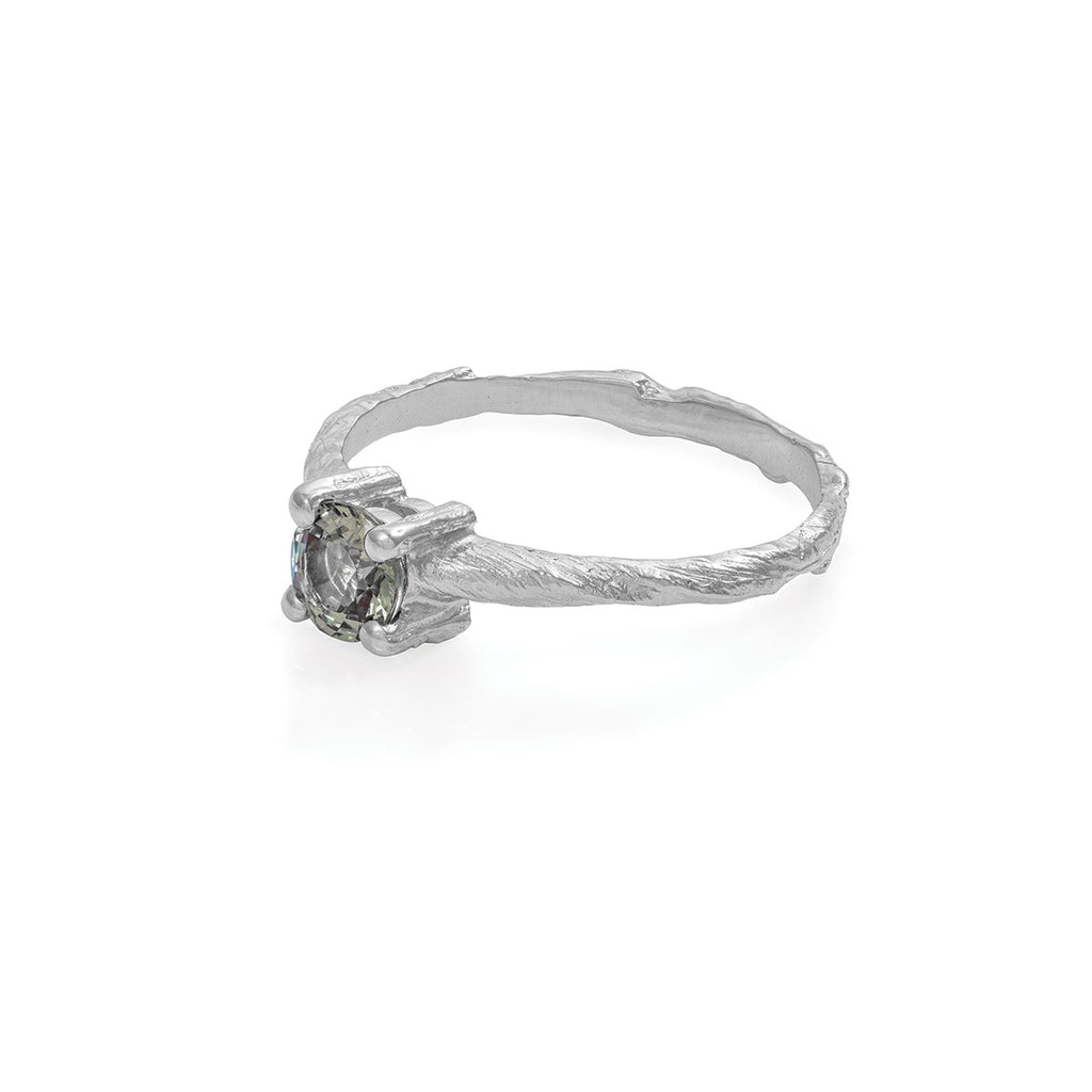 Chupi - Green Sapphire Engagement Ring - Solid White Gold Twig Band - Darling in the Wild