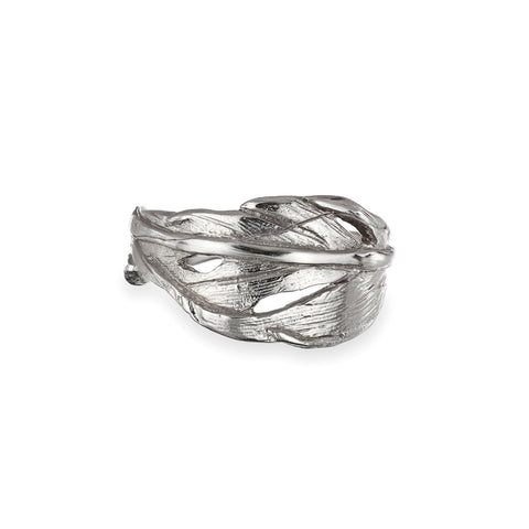 Solid White Gold Hope Is a Thing With Feathers Ring