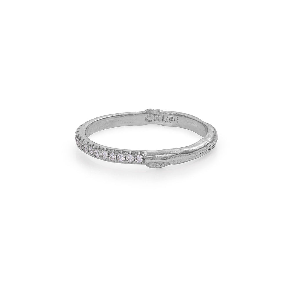 Solid White Gold Hawthorn Diamond Half Eternity Ring