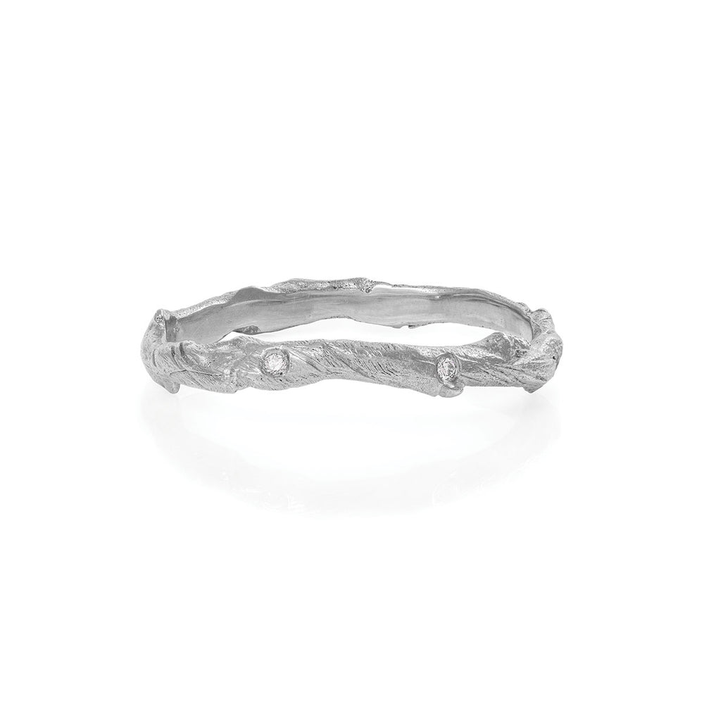 Chupi - Hawthorn Twig Infinity Diamond Wedding Band— Solid White Gold Ring
