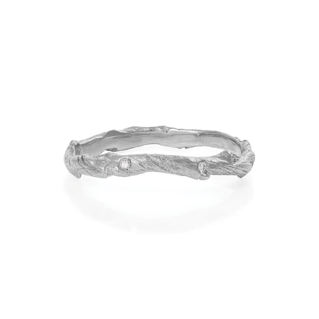 image-Solid White Gold Hawthorn Twig Infinity Ring with Classic Diamond