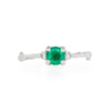 Love is All - 14k White Gold Twig Band Emerald & Diamond Ring