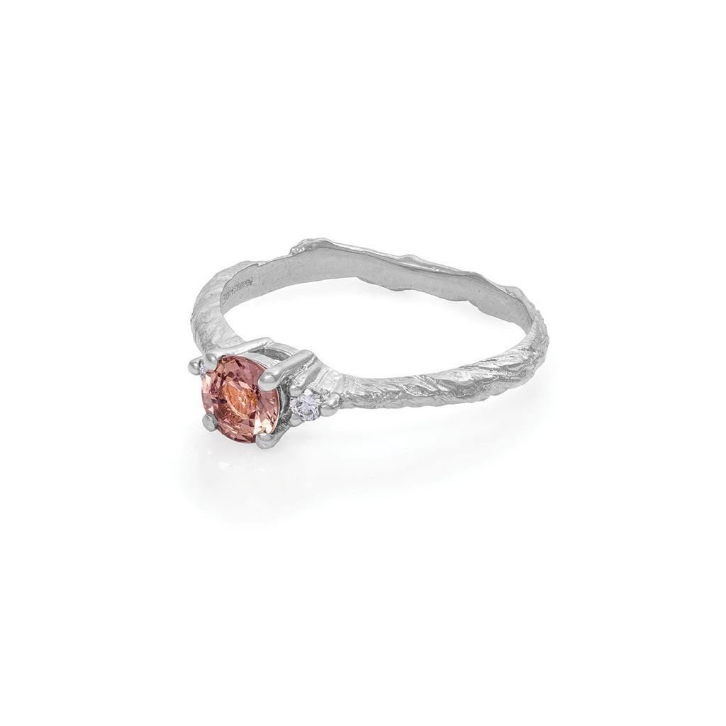 image-Chupi - Magenta Sapphire & Classic Diamond Engagement Ring - Solid White Gold Polished Band - Love is All