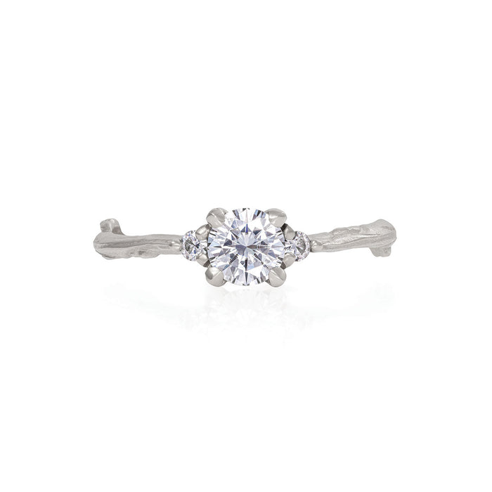 Love is All - 14k White Gold Twig Band Moissanite & Diamond Ring