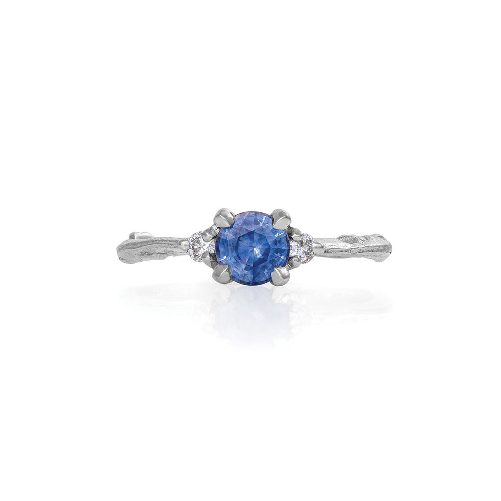 Love Is All - 14k White Gold Twig Band Blue Sapphire & Diamond Ring
