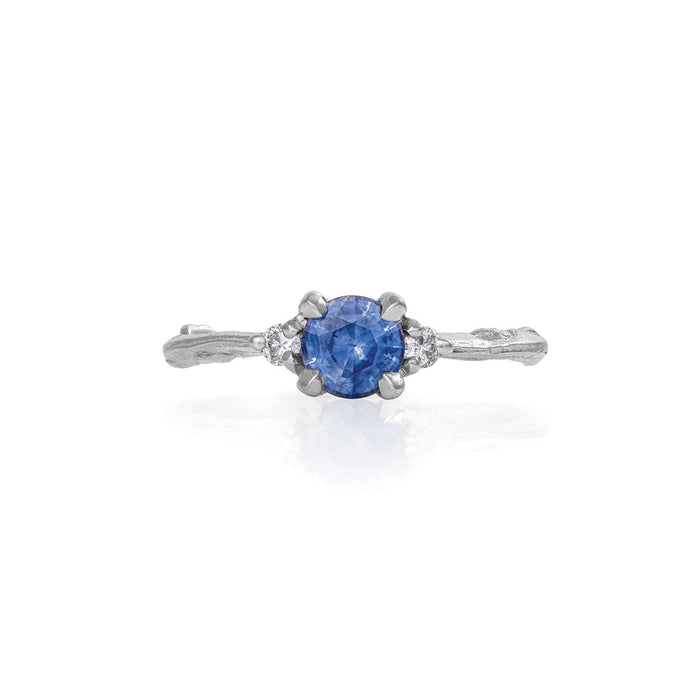 Solid White Gold Love Is All - Blue Sapphire & Diamond Ring