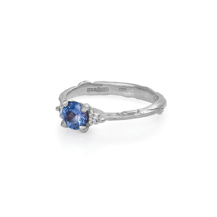 On-body shot of Love Is All - 14k White Gold Twig Band Blue Sapphire & Diamond Ring