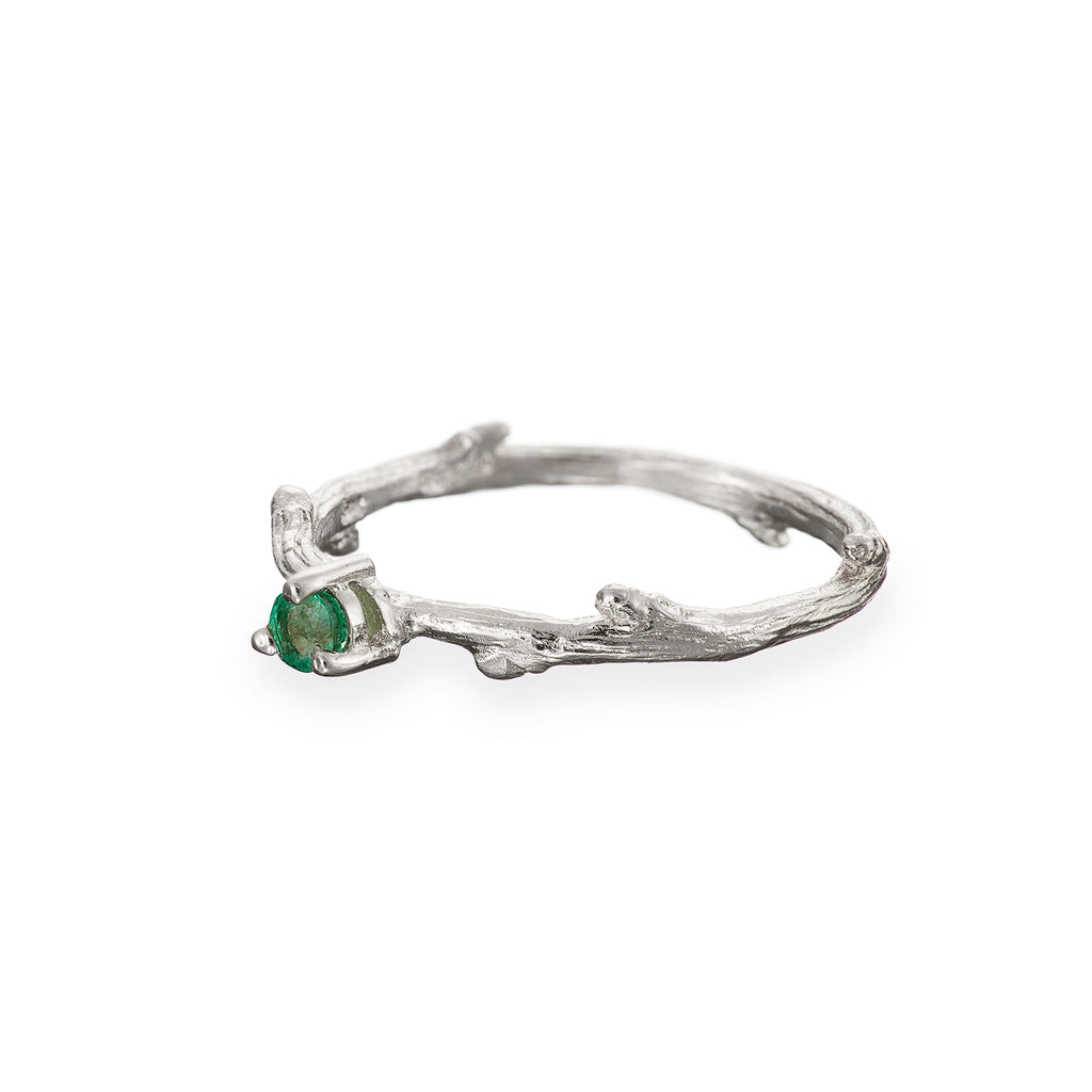 image-Chupi - Emerald Birthstone Ring - Solid White Gold - Born Under a Lucky Star