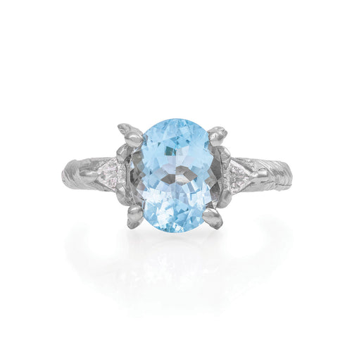 image of Solid White Gold One In A Trillion - Aquamarine & Diamond Ring