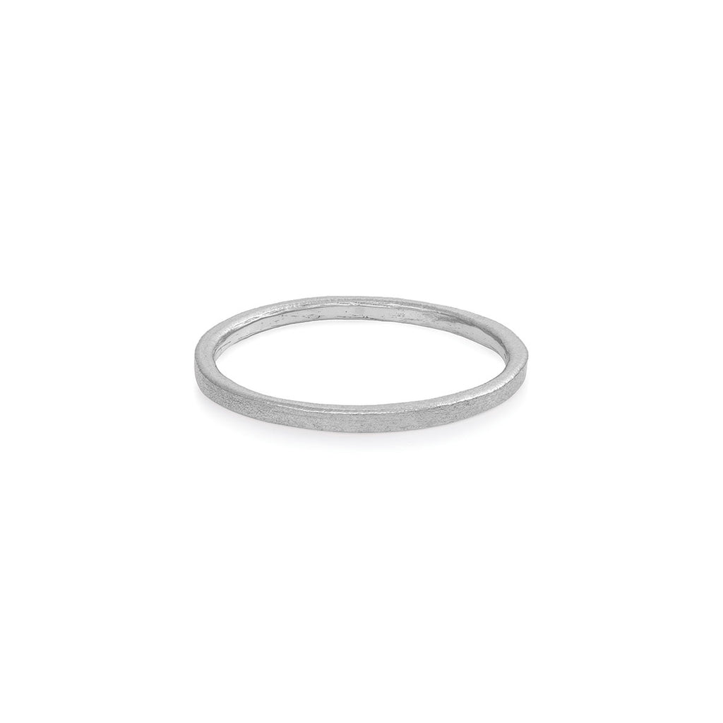 image-Chupi - Polished Hawthorn Bark Wedding Band - Tiny - Solid White Gold Ring