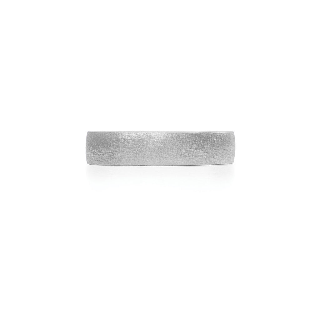 image-Solid White Gold Hawthorn Bark Polished Ring Wide Band