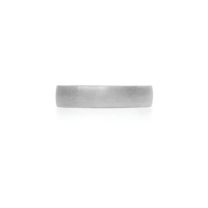 On-body shot of Chupi - Polished Hawthorn Bark Wedding Band - Wide - Solid White Gold Ring