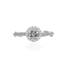 Queen of Hearts - 14k White Gold Twig Band 0.5ct Grey Diamond Halo Ring