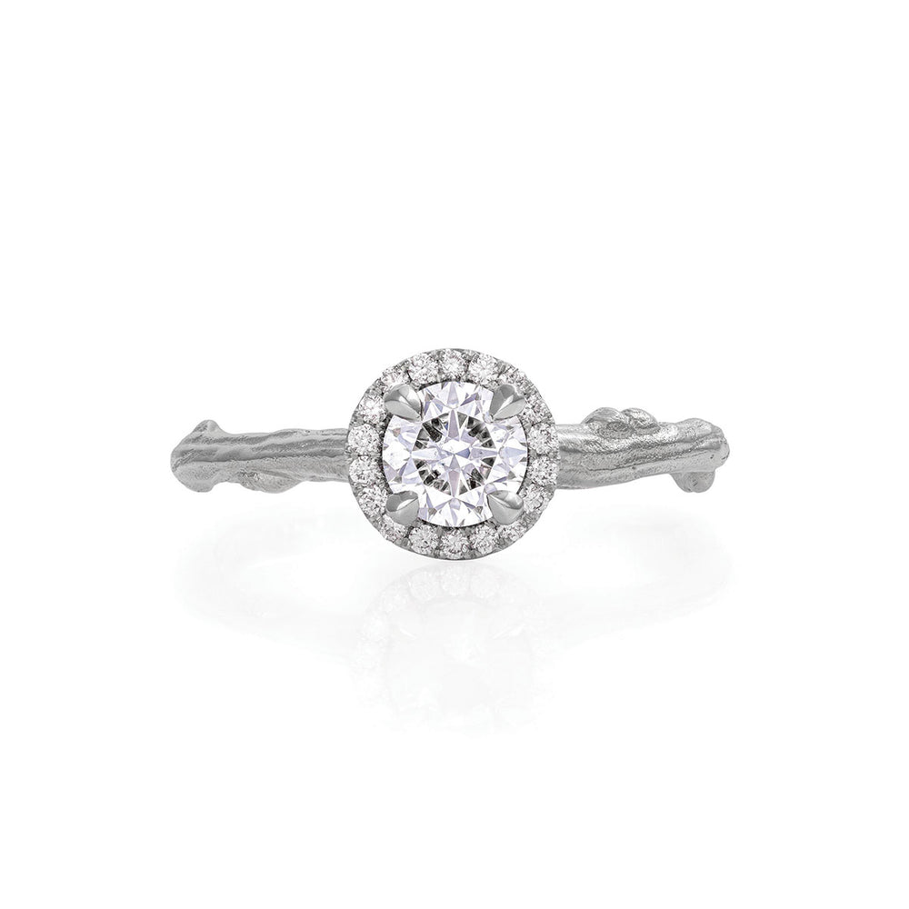 Queen of Hearts - 14k White Gold Twig Band 0.5ct Lab-Grown Diamond Halo Ring