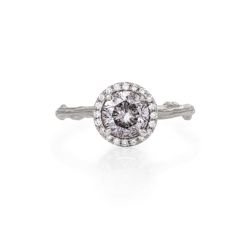 image of Solid White Gold Queen of Hearts - One Carat Grey Diamond Halo Ring