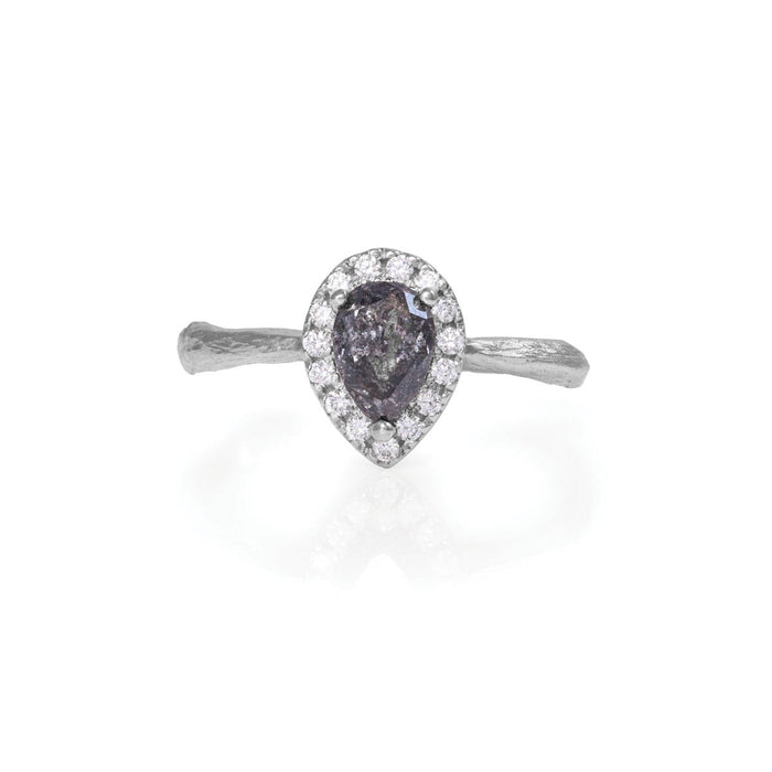 On-body shot of Chupi - Grey Diamond Halo Engagement Ring - Pear Shape - Solid White Gold - Queen of Hearts