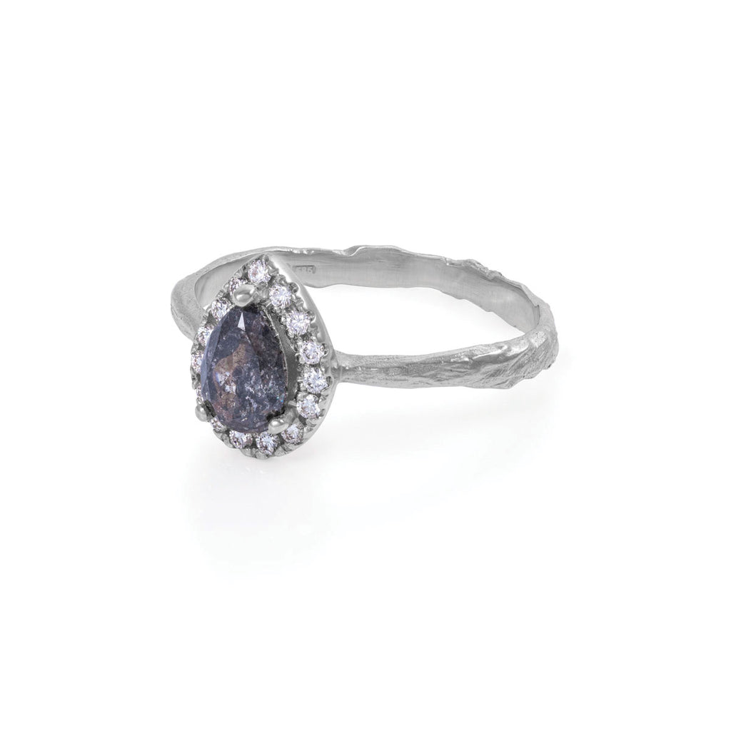 image-Solid White Gold Queen of Hearts - Pear One Carat Grey Diamond Halo Ring on Raised Band