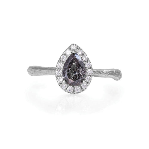 image of Solid White Gold Queen of Hearts - Pear One Carat Grey Diamond Halo Ring