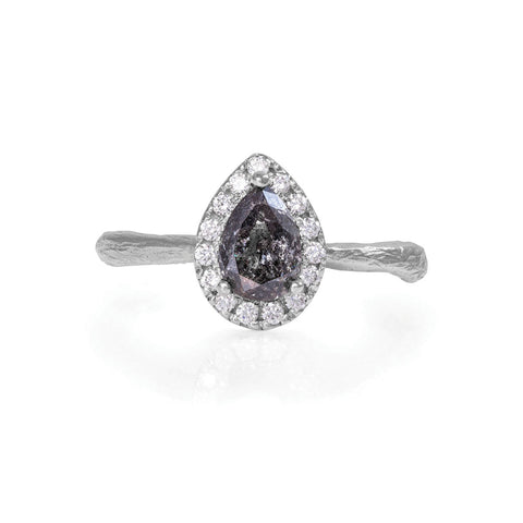 Solid White Gold Queen of Hearts - Pear One Carat Grey Diamond Halo Ring