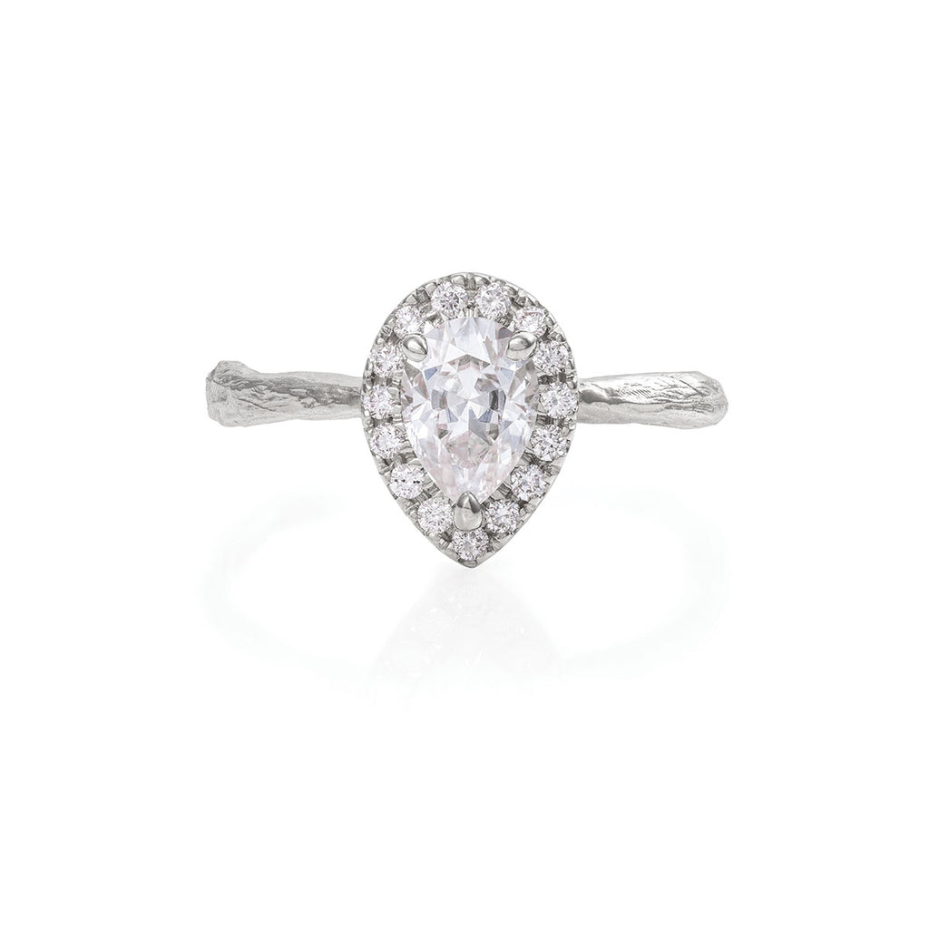 Chupi - Moissanite Halo Engagement Ring - Pear Shape - Solid White Gold - Queen of Hearts