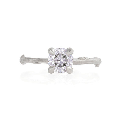Solid White Gold Sparkle in the Wild - One Carat Classic Diamond Ring