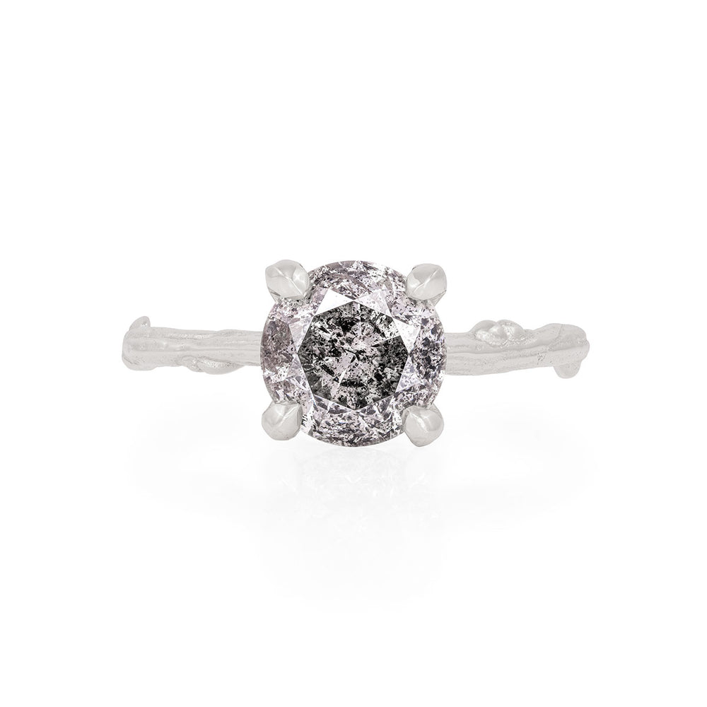 Solid White Gold Sparkle In The Wild - Two Carat Grey Diamond Ring