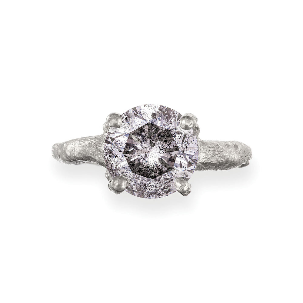 Solid White Gold Sparkle In The Wild - Three Carat Grey Diamond Ring