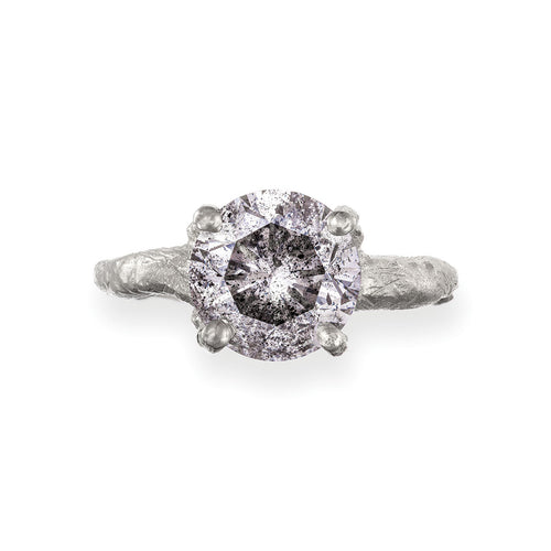 image of Solid White Gold Sparkle In The Wild - Three Carat Grey Diamond Ring
