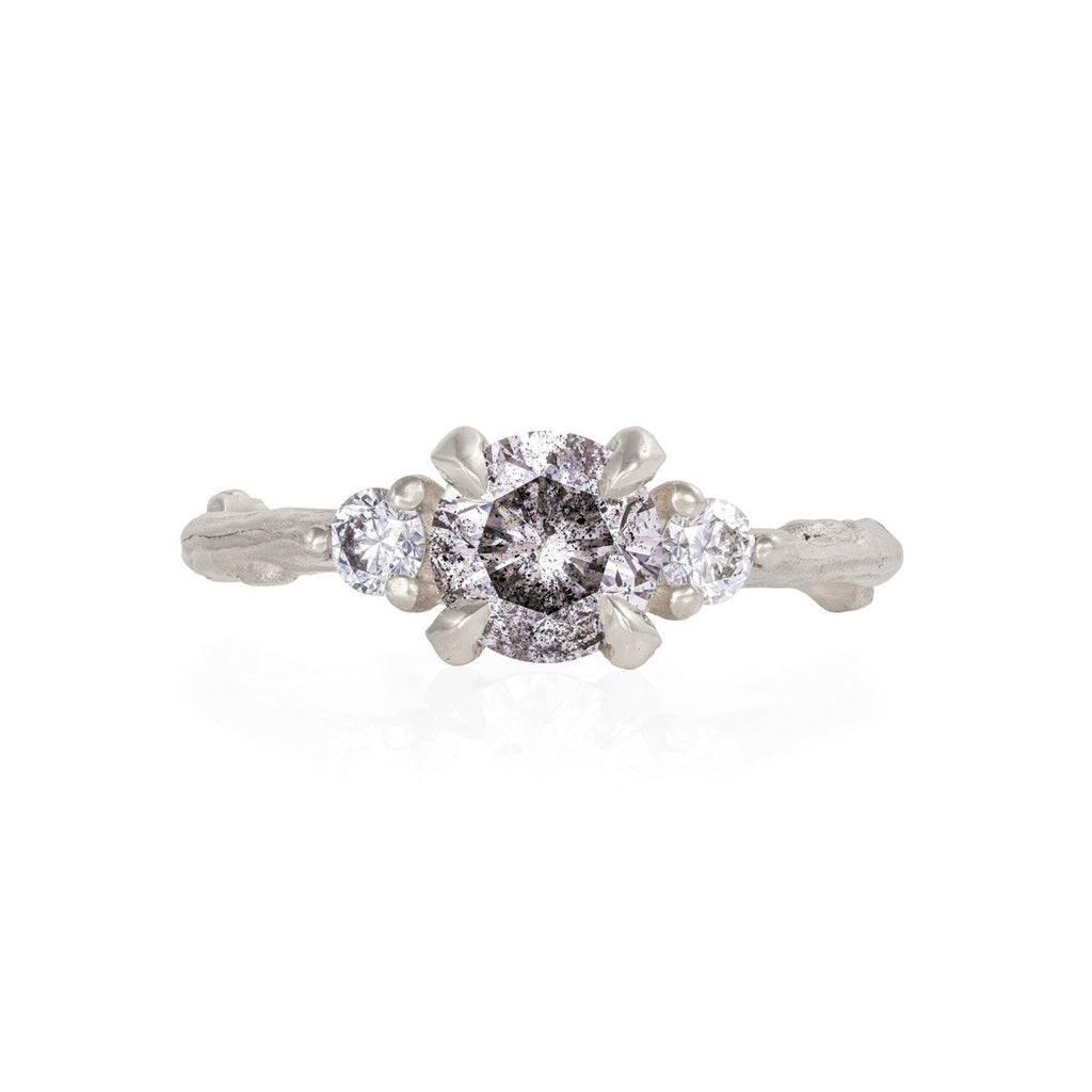 Chupi - Grey Diamond & Classic Diamond Engagement Ring - Solid White Gold One Carat Twig Band - You Me & Magic