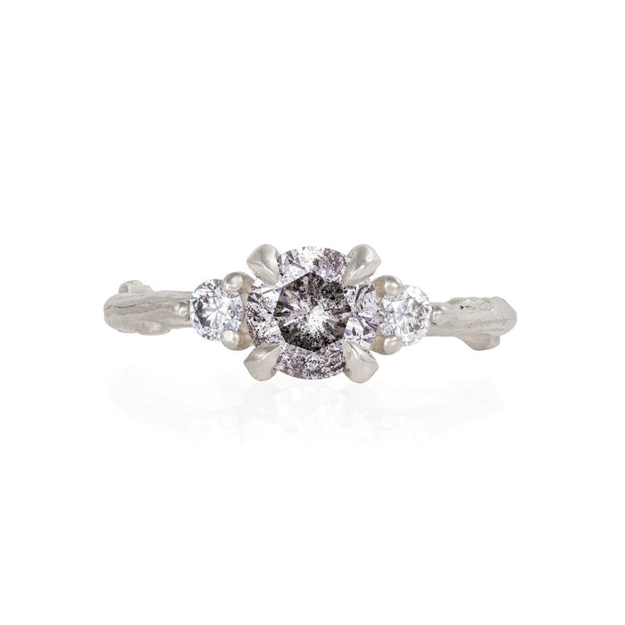 Solid White Gold You Me & Magic - One Carat Grey Diamond & Classic Diamond Ring
