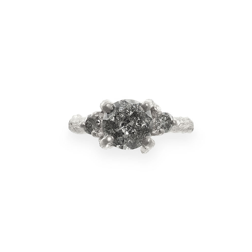Solid White Gold You Me & Magic - Two Carat Grey Diamond Ring