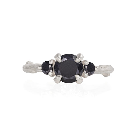 Solid White Gold You Me & Magic - One Carat Black Diamond Ring