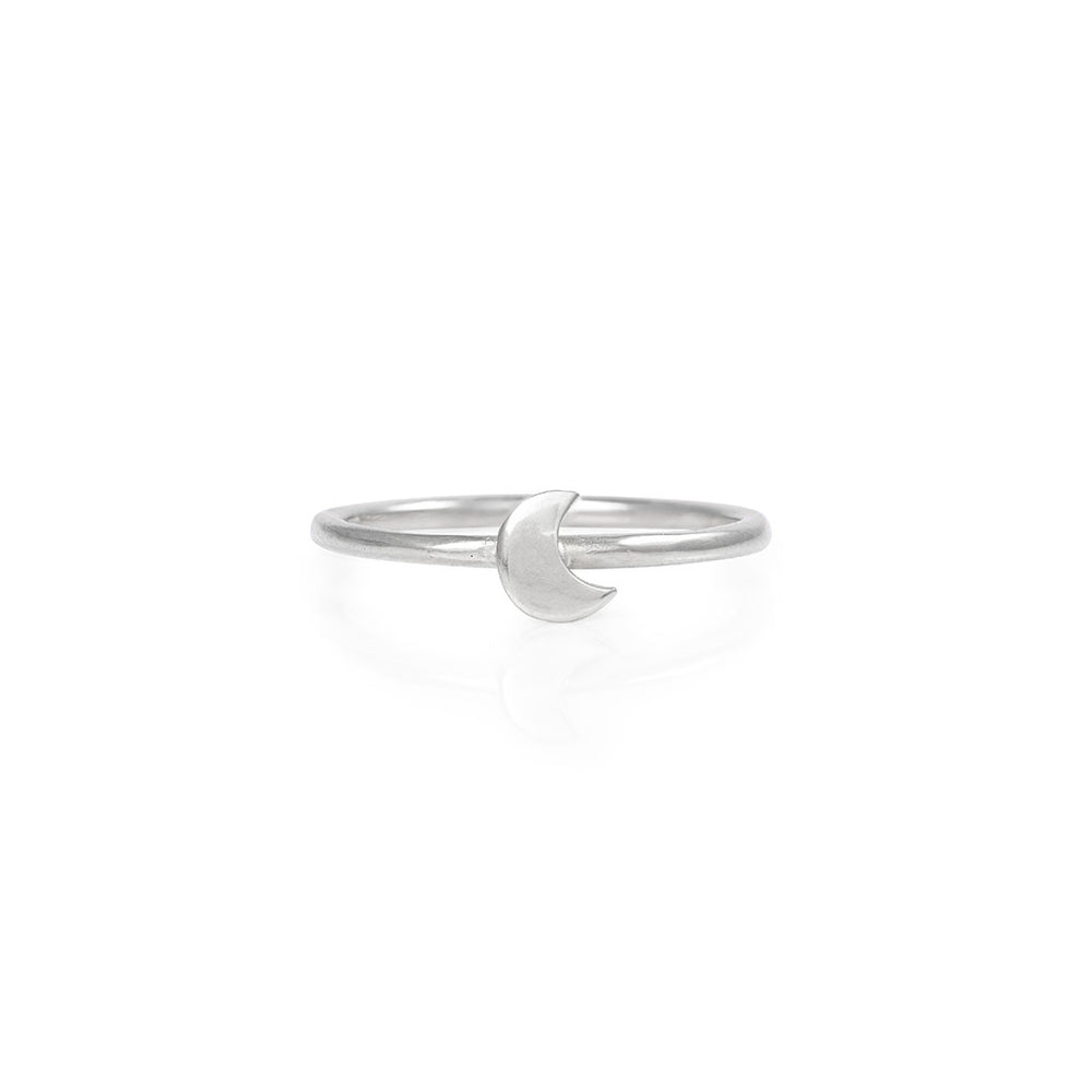 Chupi - Moon Stacking Ring - Solid White Gold You Are My Moon