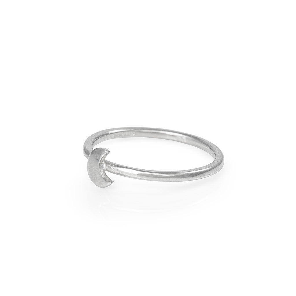image-Chupi - Moon Stacking Ring - Solid White Gold You Are My Moon