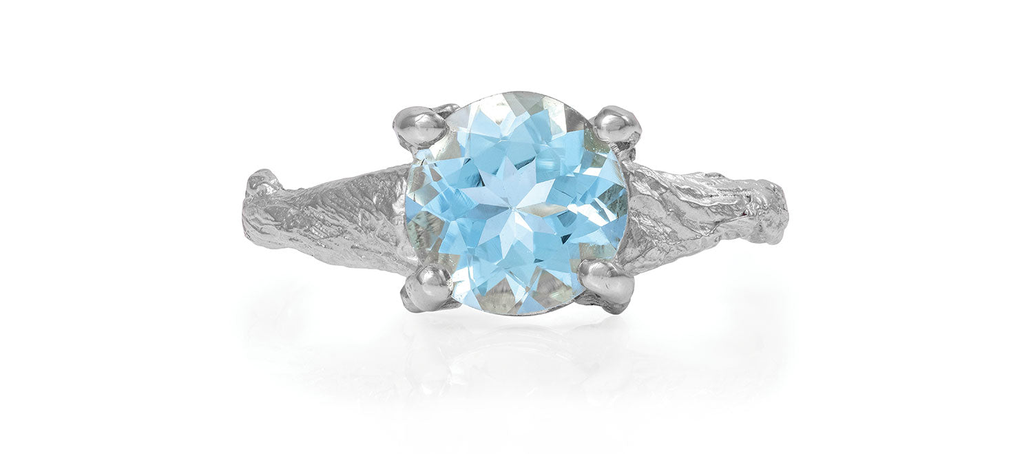 b5d9b4d76bc0b Solid White Gold Sparkle In The Wild - Aquamarine Ring