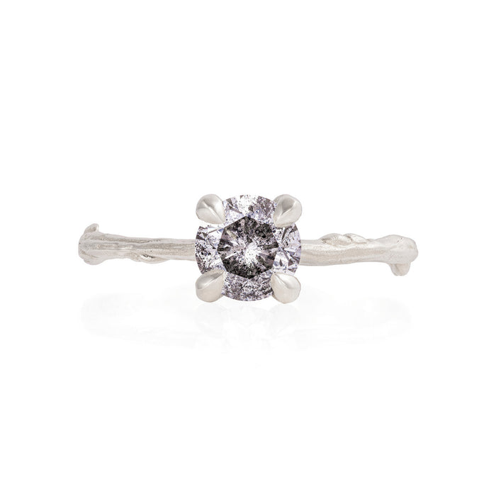 Solid White Gold Sparkle In The Wild - One Carat Grey Diamond Ring