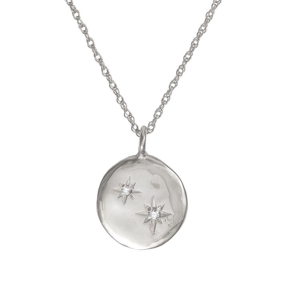 Chupi - Two Diamond Disc Necklace - Stars in the Sky Solid White Gold
