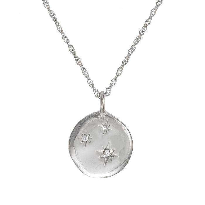 Chupi - Three Diamond Disc Necklace - Stars in the Sky Solid White Gold