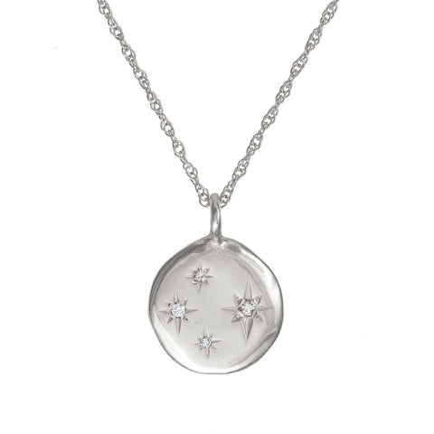 Chupi - Four Diamond Disc Necklace - Stars in the Sky Solid White Gold