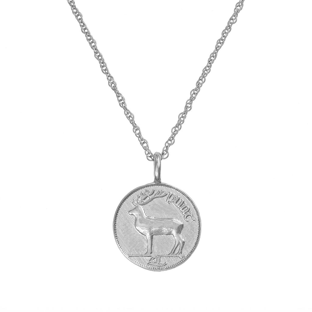 Chupi - Coin Necklace 1990 Stag - Worth Your Weight in Gold - Solid White Gold Necklace