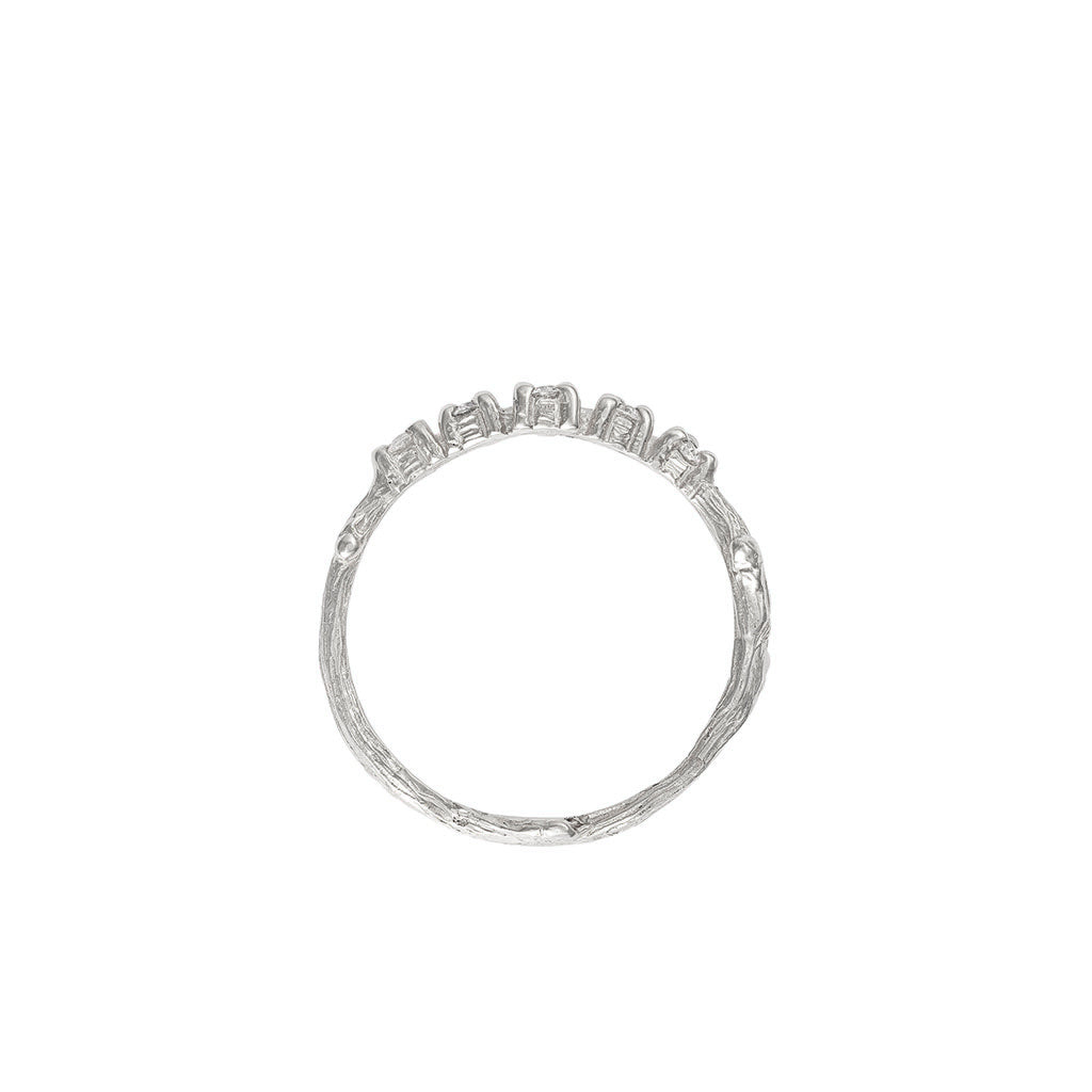 image-Solid White Gold Written in the Stars Band Ring Classic Diamond