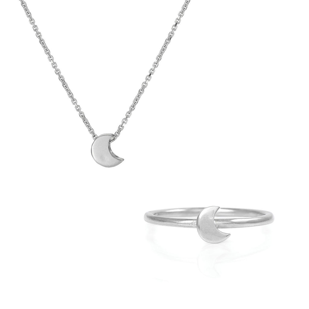 Chupi - Solid White Gold Gift Set - You Are My Moon Necklace & Ring