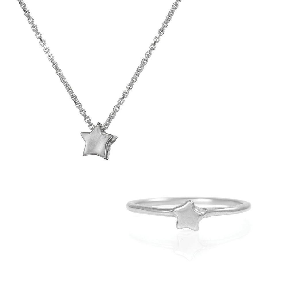 Chupi - Solid White Gold Gift Set - You Are My Star Necklace & Ring
