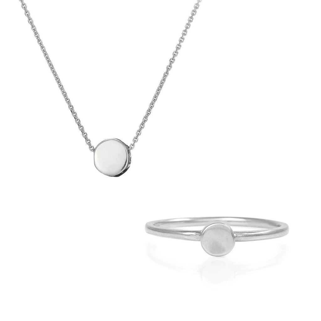 image-Solid White Gold You Are The Sun Necklace & Ring Gift Set