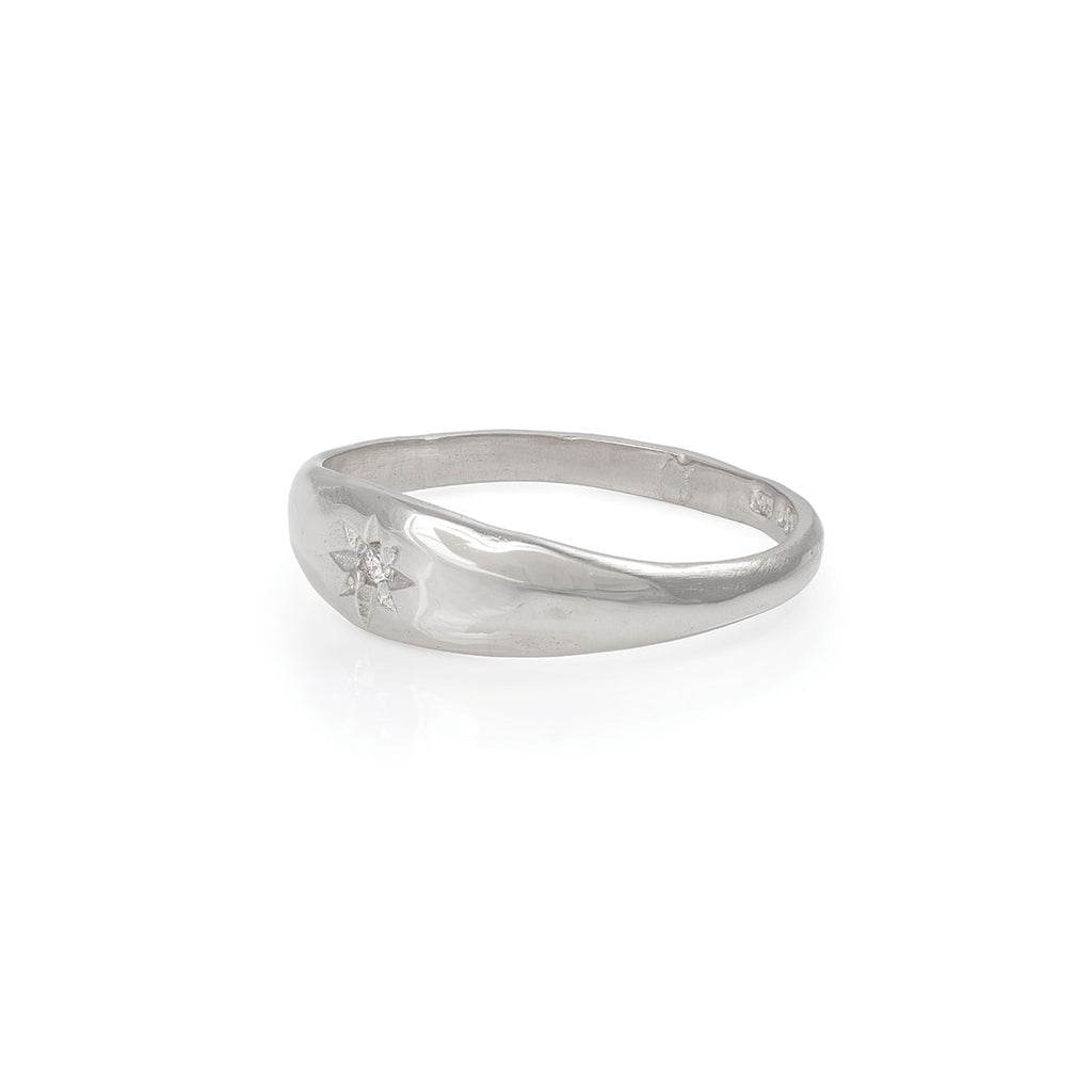 image-Solid White Gold North Star Tiny Signet Ring