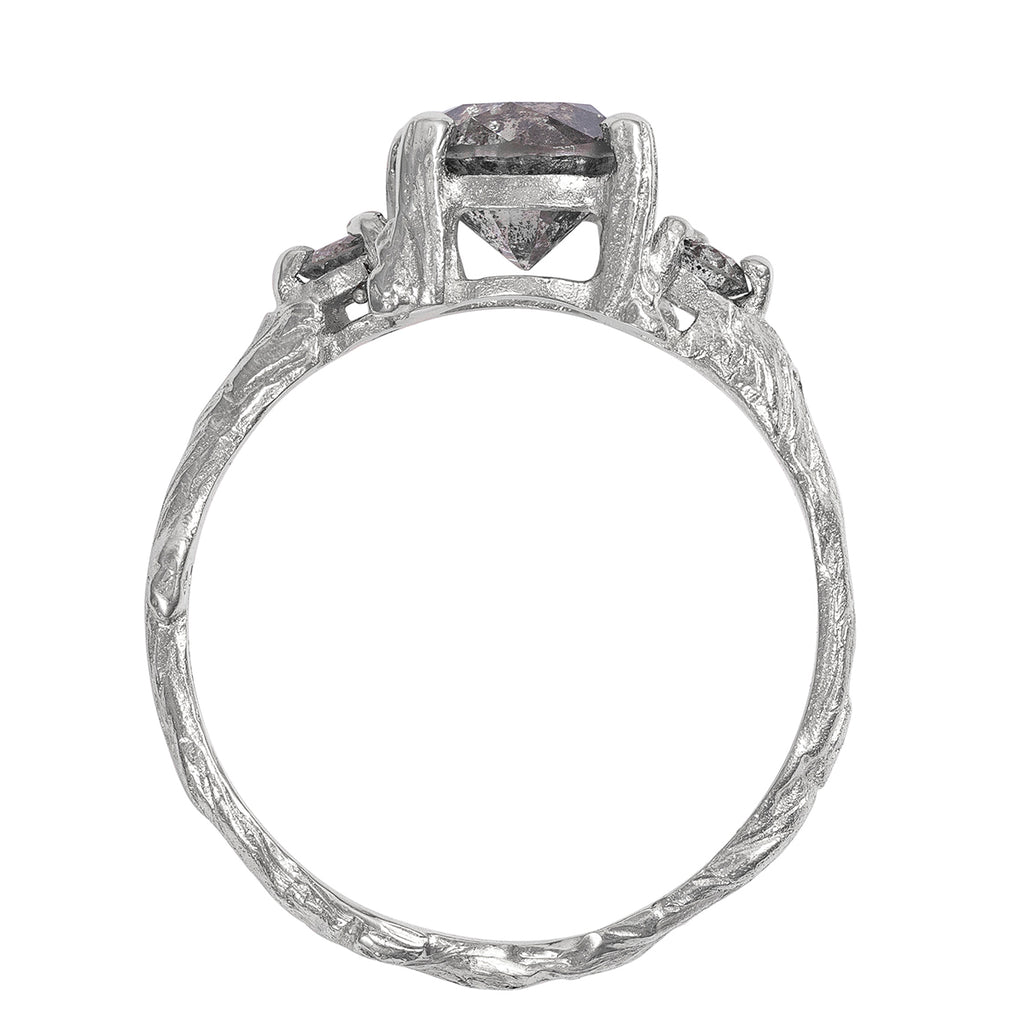 Solid White Gold You Me & Magic Ring - Fiery Grey Diamond One Carat