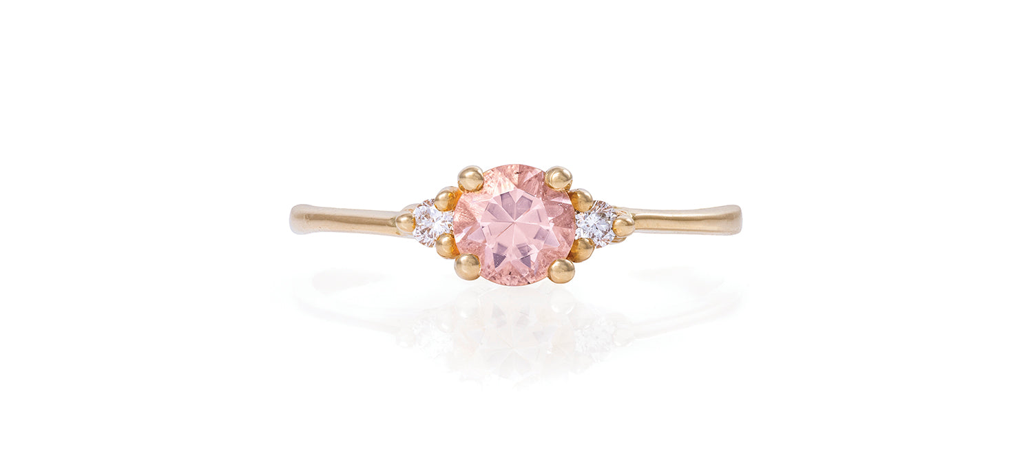 Solid Gold Love is All - Morganite & Classic Diamond Polished Band Ring