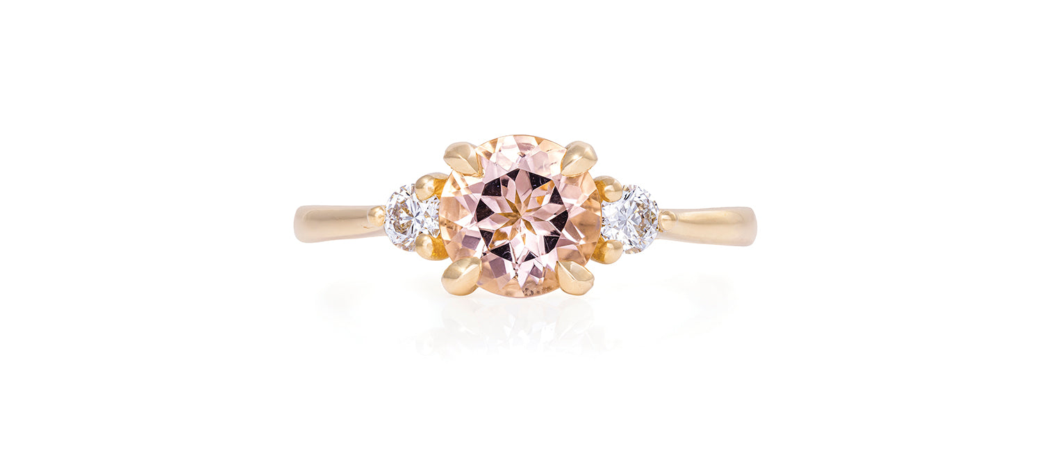 Solid Gold You Me & Magic - One Carat Morganite & Classic Diamond Polished Band Ring