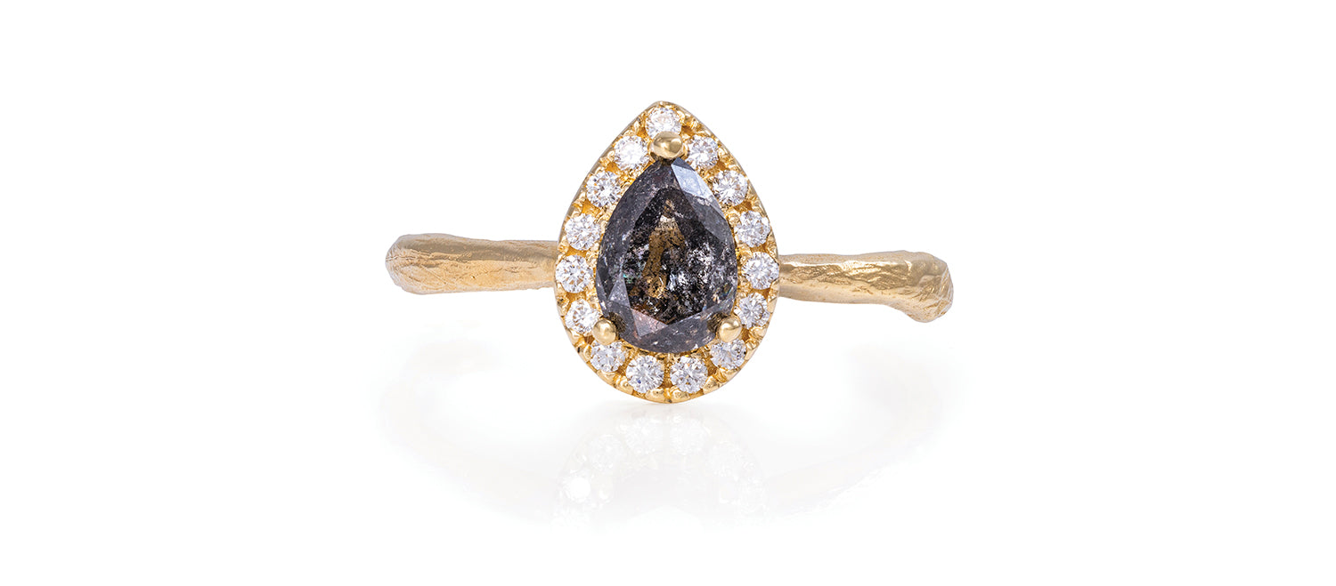 Solid Gold Queen of Hearts - Pear One Carat Grey Diamond Halo Ring