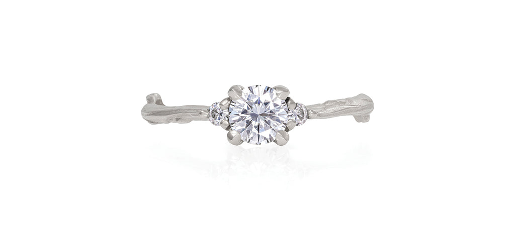 Solid White Gold Love is All - Moissanite & Classic Diamond Ring
